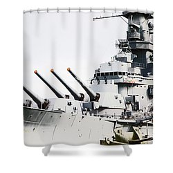 Shower Curtain featuring the photograph Uss Alabama by Susan  McMenamin