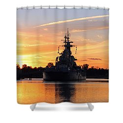 Uss Battleship Shower Curtain by Cynthia Guinn
