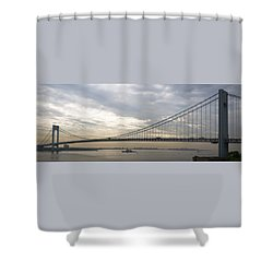 Uss Cole And The Verrazano Narrows Bridge Shower Curtain