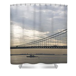 Uss Cole And The Verrazano Narrows Bridge Shower Curtain by Kenneth Cole