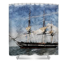 Uss Constitution On Canvas - Featured In 'manufactured Objects' Group Shower Curtain