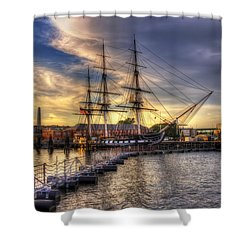 Uss Constitution Sunset - Boston Shower Curtain by Joann Vitali
