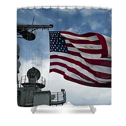 Uss Cowpens Flies A Large American Flag Shower Curtain by Stocktrek Images