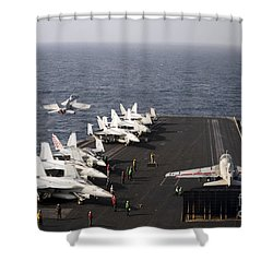 Uss Enterprise Conducts Flight Shower Curtain by Stocktrek Images