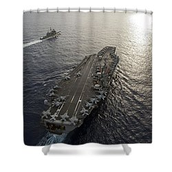 Shower Curtain featuring the photograph Uss George Washington And Uss Mobile by Stocktrek Images