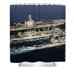 Uss John C. Stennis, Uss Mobile Bay Shower Curtain by Stocktrek Images