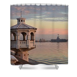 Uss Lexington At Sunrise Shower Curtain