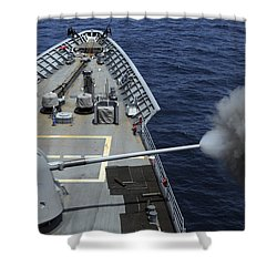 Uss Philippine Sea Fires Its Mk 45 Shower Curtain by Stocktrek Images