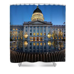 Utah State Capitol In Reflecting Fountain At Dusk Shower Curtain