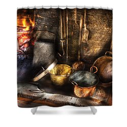 Utensils - Colonial Kitchen Shower Curtain by Mike Savad