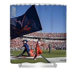 Uva Virginia Cavaliers Football Touchdown Celebration Shower Curtain by Jason O Watson