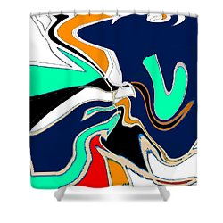 Original Contemporary Art Painting V. Is For Victory Shower Curtain by RjFxx at beautifullart com