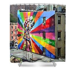 V - J Day Mural By Eduardo Kobra Shower Curtain by Allen Beatty