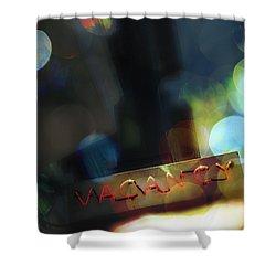 Vacancy Shower Curtain by Margie Hurwich