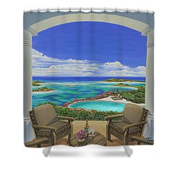 Shower Curtain featuring the painting Vacation View by Jane Girardot