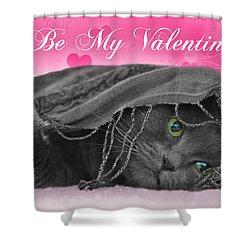 Valentine Cat Shower Curtain by Joann Vitali