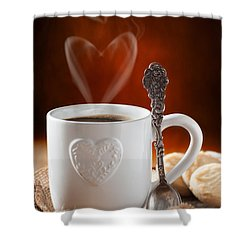 Valentine's Day Coffee Shower Curtain by Amanda Elwell