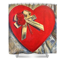 Valentine's Heart Shower Curtain by Chrissey Dittus