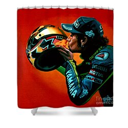 Valentino Rossi Portrait Shower Curtain by Paul Meijering