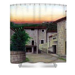 Shower Curtain featuring the painting Vallecchia De Monte Calvo by Albert Puskaric