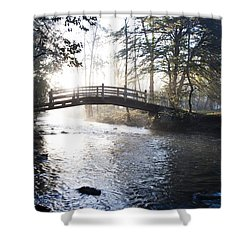 Valley Creek Bow Bridge At Valley Forge Shower Curtain by Bill Cannon