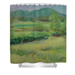 Valley Ranch Rural Western Landscape Painting Oregon Art  Shower Curtain by Elizabeth Sawyer
