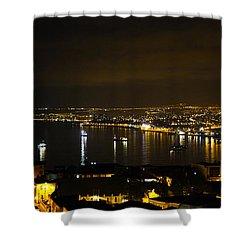 Valparaiso Harbor At Night Shower Curtain by Kurt Van Wagner