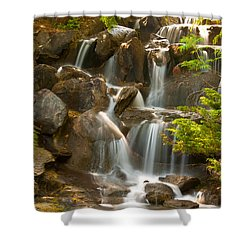Shower Curtain featuring the photograph Van Dusen Waterfall by Sabine Edrissi