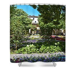 Shower Curtain featuring the photograph Van Gogh - Courtyard In Arles by Allen Sheffield