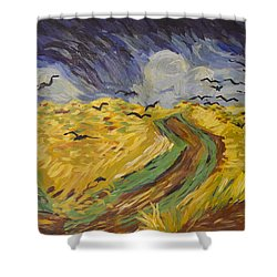 Van Gogh Wheat Field With Crows Copy Shower Curtain