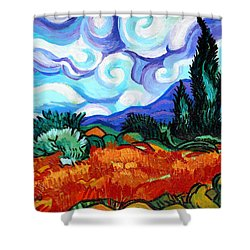Van Goghs Wheat Field With Cypress Shower Curtain by Genevieve Esson