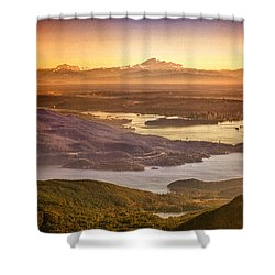 Vancouver And Mt Baker Aerial View Shower Curtain