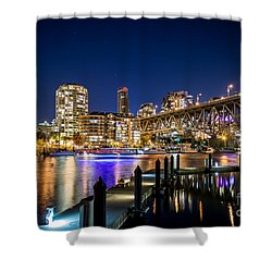 Vancouver At Night Shower Curtain by Sabine Edrissi