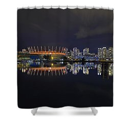 Vancouver Bc Canada City Skyline By False Creek At Night Shower Curtain by David Gn
