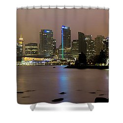 Vancouver Bc City Skyline At Night Shower Curtain by David Gn
