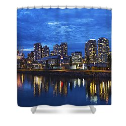 Vancouver Bc City Skyline With Bc Place At Blue Hour Shower Curtain by David Gn