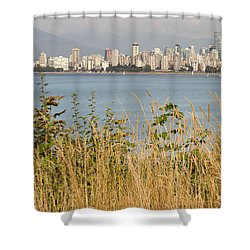 Shower Curtain featuring the photograph Vancouver Bc Downtown From Hasting Mills Park by JPLDesigns