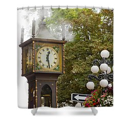 Shower Curtain featuring the photograph Vancouver Bc Historic Gastown Steam Clock by JPLDesigns