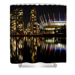 Shower Curtain featuring the photograph Vancouver Bc Skyline Along False Creek At Night by JPLDesigns