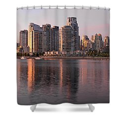 Shower Curtain featuring the photograph Vancouver Bc Waterfront Condominiums by JPLDesigns