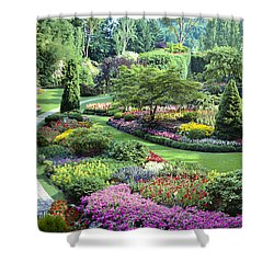 Vancouver Butchart Sunken Gardens Beautiful Flowers No People Panorama Shower Curtain
