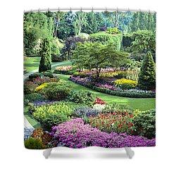 Vancouver Butchart Sunken Gardens Beautiful Flowers No People Panorama Shower Curtain by David Zanzinger