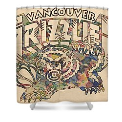 Vancouver Grizzlies Retro Poster Shower Curtain by Florian Rodarte