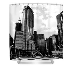 Vancouver Olympic Cauldron- Black And White Photography Shower Curtain by Linda Woods