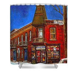 Vanishing Montreal Landmark Depanneur Ste. Emilie And Bourget Montreal Painting By Carole Spandau  Shower Curtain by Carole Spandau
