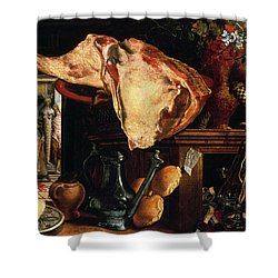 Vanitas Still Life Shower Curtain by Pieter Aertsen