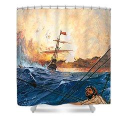 Vasco Da Gama's Ships Rounding The Cape Shower Curtain by English School