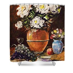 Vase Of Flowers And Fruit Shower Curtain by Al Brown