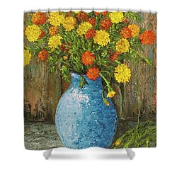 Vase Of Marigolds Shower Curtain
