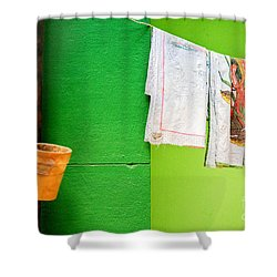 Shower Curtain featuring the photograph Vase Towels And Green Wall by Silvia Ganora